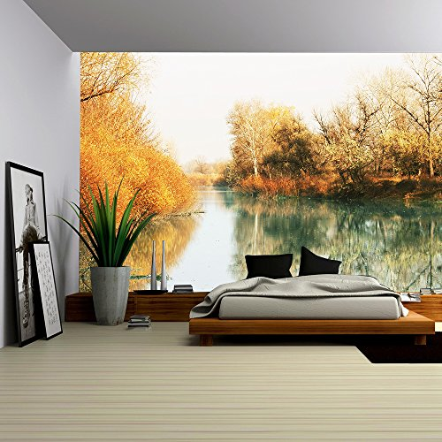 Picturesque rural landscapes on lake
