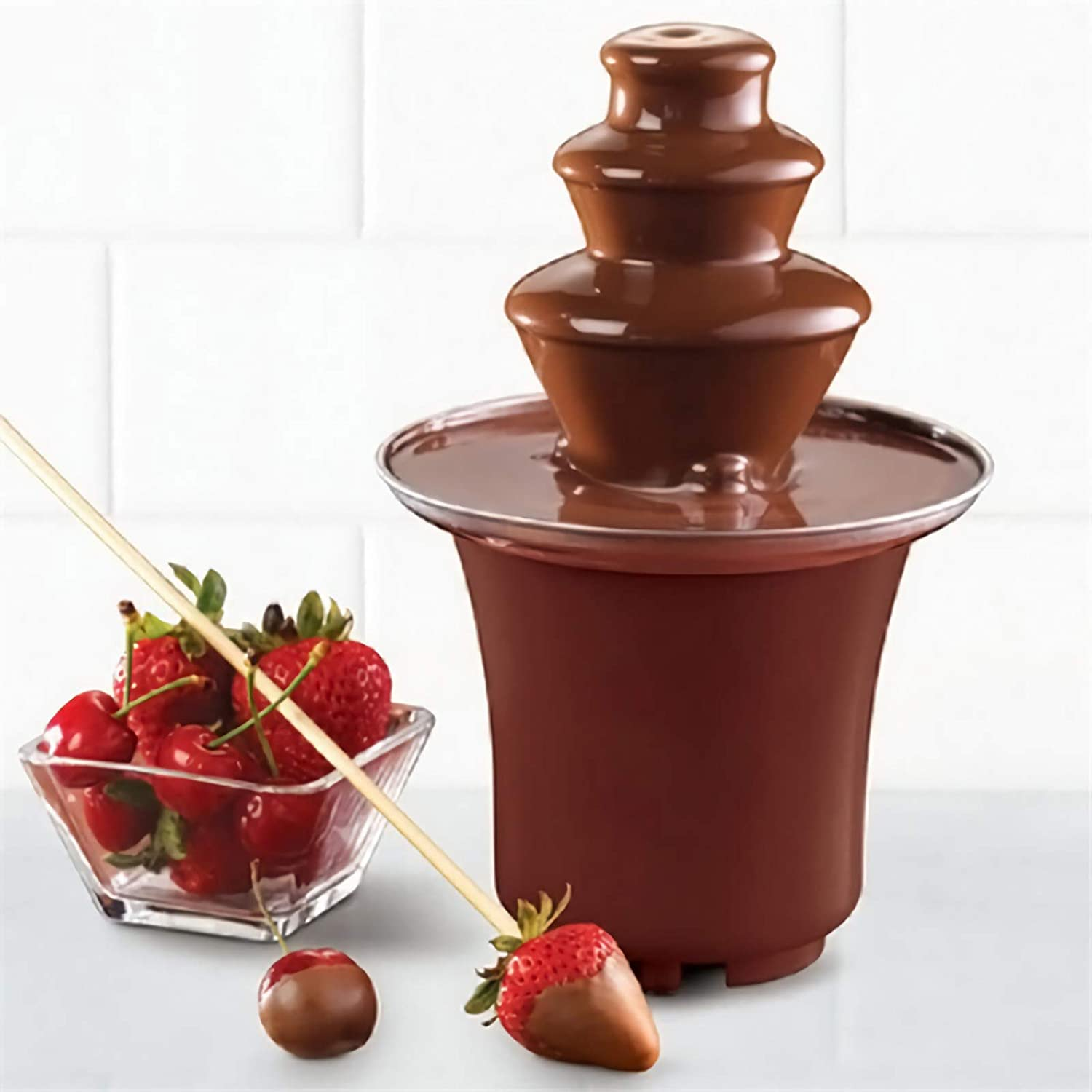 Chocolate Fondue Electric Fountain 3-Tier Melting Machine Stainless Steel Pots Dessert for Melted Chocolate, Candy, Butter, Cheese, Caramel Dip Mini Size, 1.5-2 Pound Capacity Oranlife