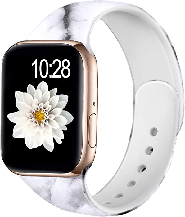 Adorve Floral Bands Compatible with Apple Watch Band 38mm 40mm iWatch SE & Series 6 & Series 5 4 3 2 1 for Women Men, White Marble M/L