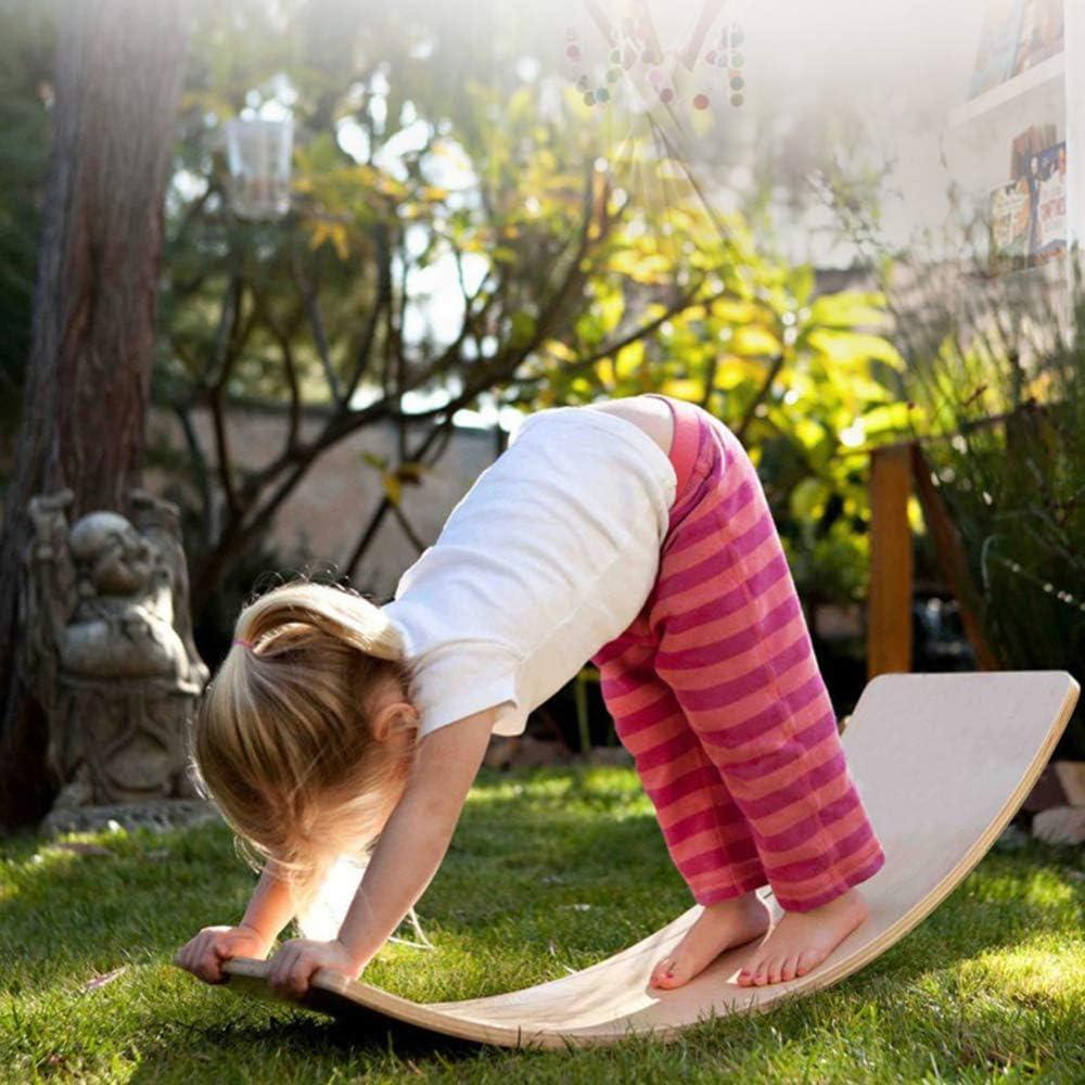 Jouets de balan/çoire en Bois en Plein air pour Les Enfants Kid Yoga Board Curvy Board lxfy en Bois Wobble Balance Board Waldorf Toys Balance Board