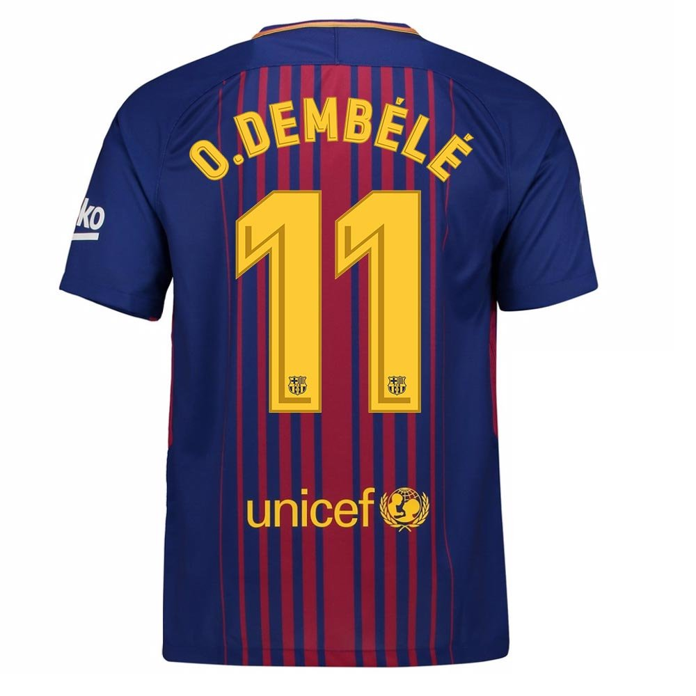 2017-2018 Barcelona Home Football Soccer T-Shirt Trikot (Ousmane Dembele 11) - Kids