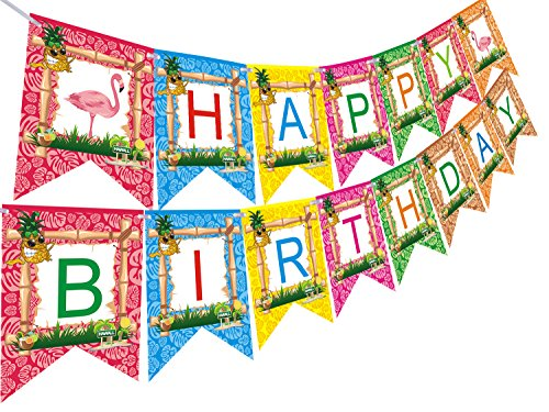 Hawaiian Luau Happy Birthday Banners For Tiki Tropical Summer Pool Flamingo Party Supplies -