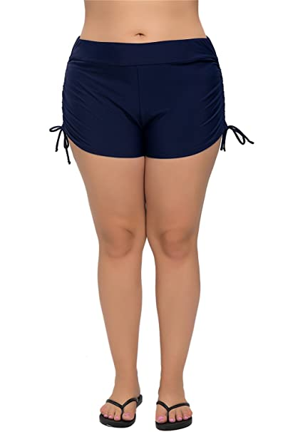 8c7922ecde3 Anfilia Ruched Sports Swim Shorts For Women Plus Size Swim Bottoms Swimsuit  Navy 2X