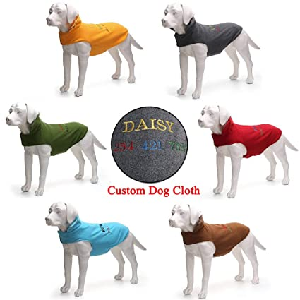 cda9e19927ed Custom Personalized Dog Cold Weather Coats Clothes - Fleece Windproof Plush  Sport Dog Vest - ID Embroidered Dog Name & Phone Number Dog Jacket Apparel  - for ...