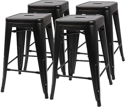 Outdoor Stools 24 In Metal Bar Stools Set of 4 Counter Height Stackable Indoor