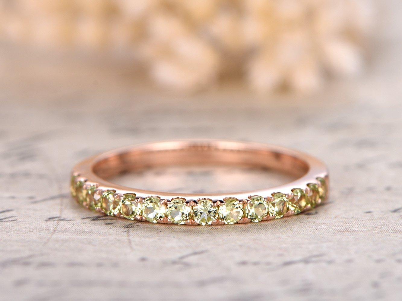 Solid 14k Rose Gold Half Eternity 2mm Round Cut Natural VS Green Peridot Bridal Wedding Propose Stacking Matching Band Size 4-9