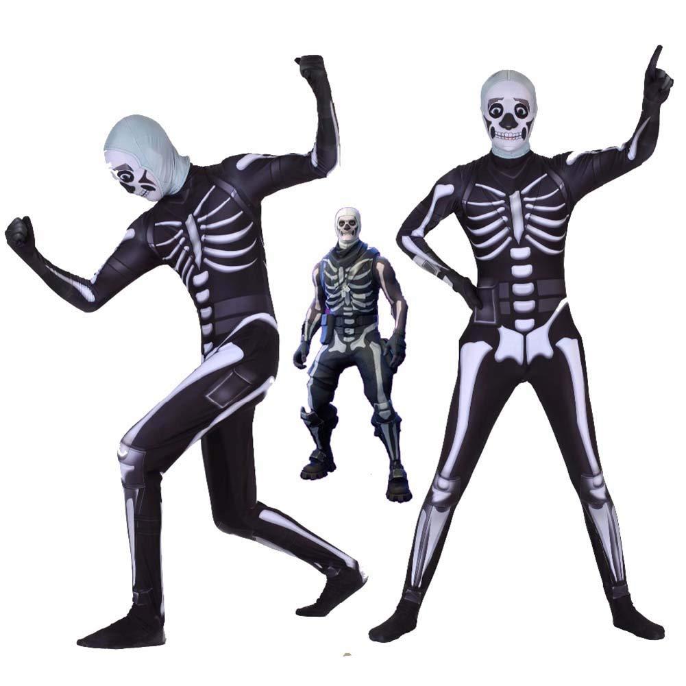 KELYNN Fortnite Skull Trooper Costume Halloween Man Spandex Zentai Bodysuit Cosplay for Adult Halloween Dress Up