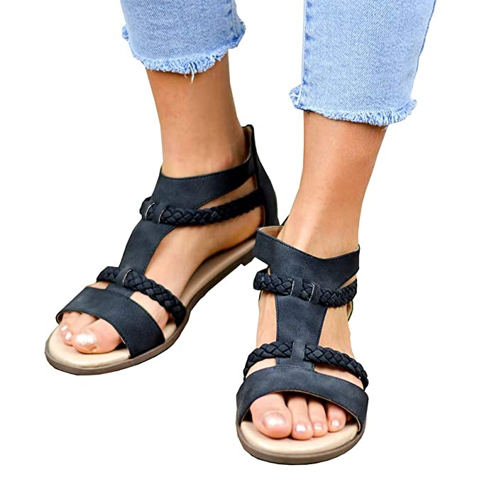 f1294d751 Amazon.com  Womens Gladiator Strappy Flat Open Toe Lace Up Criss Cross  Strap Ankle Wrap Summer Beach Sandals  Clothing