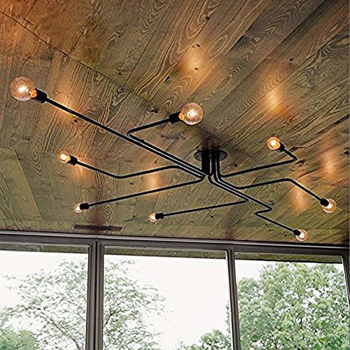 Industrial ceiling light for dining room.