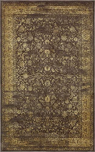Unique Loom Melbourne Collection Traditional Vintage Brown Area Rug 5 0 x 8 0
