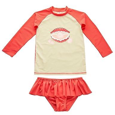05ae706792d ATTRACO Big Girls Rash Vest Long Sleeve Swimsuit Rash Guard Kids Swimwear:  Amazon.co.uk: Clothing