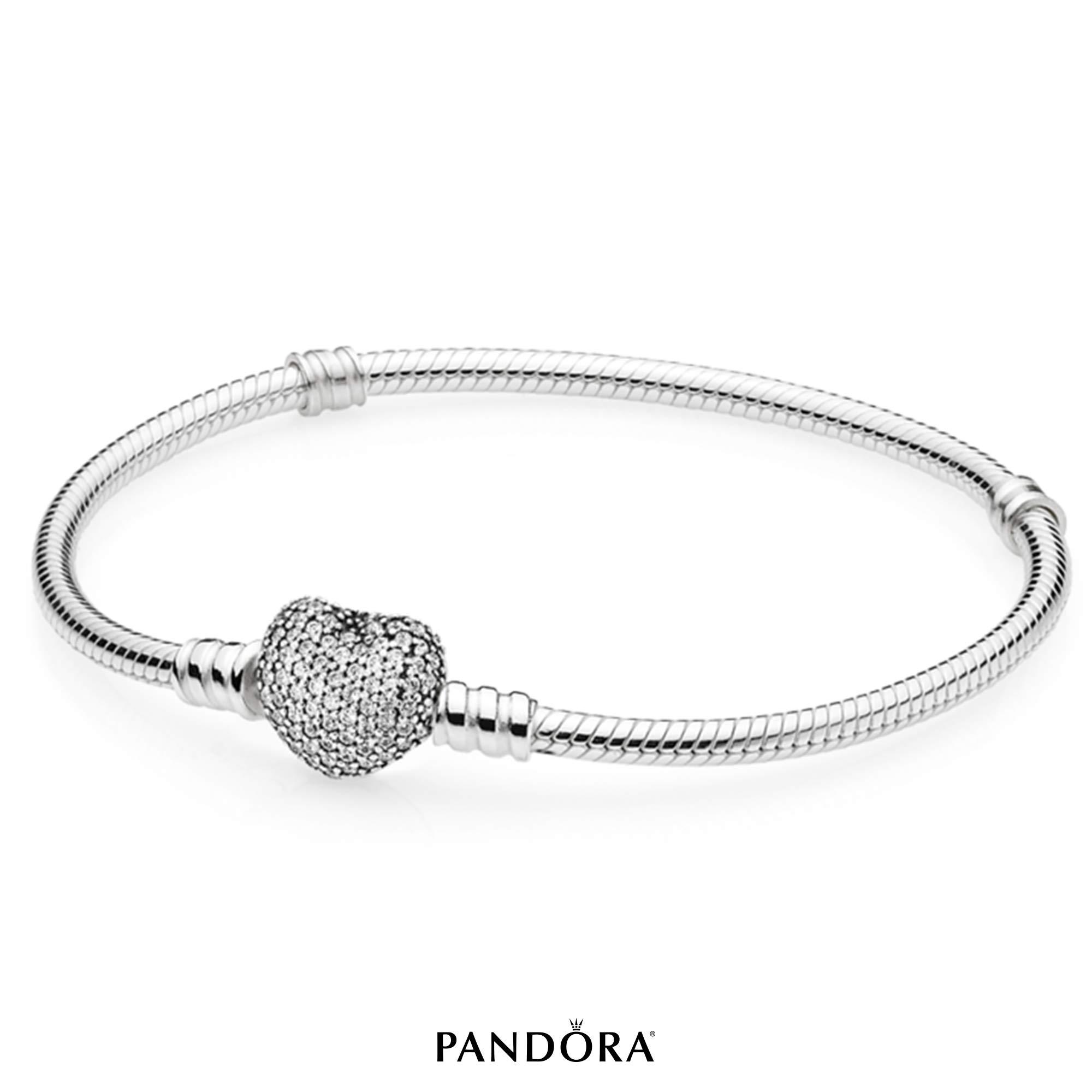 PANDORA Pavé Heart Bracelet, Sterling Silver, Clear Cubic Zirconia, 7.5 in by PANDORA