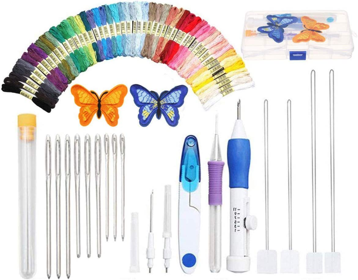 Punch Needle Embroidery Kit with 2 Butterfly Embroidered Patterns 50 Color Threads Style 1 Upgraded Storage Case for Beginner