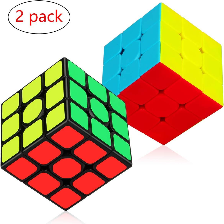 Aiduy 3x3x3 Juego de Cubos de Velocidad , Etiqueta Engomada de Paquete de Cubos Mágicos y Juego de Rompecabezas 3D de Stickcot de Stickless Smooth Twist Cube, Paquete de 2: Amazon.es: Juguetes