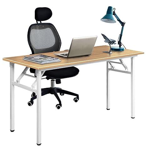 DlandHome Escritorios Mesa Plegable de Ordenador Escritorio de Oficina Mesa de Estudio Puesto de Trabajo Mesa de Despacho, 120x60cm, Teca Blanco