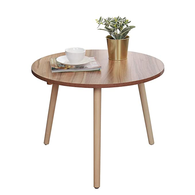 Surprising Dlandhome Small Round Coffee Table Side Table Sofa Table For Living Room Oak Natural Wood Caraccident5 Cool Chair Designs And Ideas Caraccident5Info