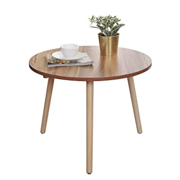 Soges Beistelltisch Rund   55 Cm  Holz Tisch Kaffeetisch Couchtisch  Nachttisch Für Wohnzimmer, Schlafzimmer