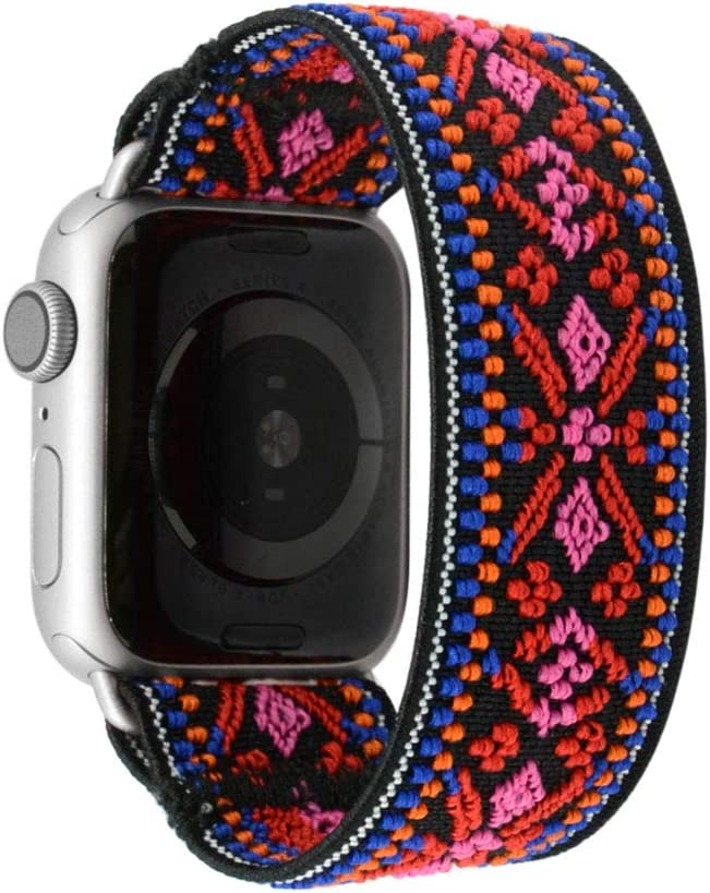 Tefeca Red Embroidery Ethnic Pattern Elastic Compatible/Replacement Band for Apple Watch 38mm/40mm (Silver Adapter, M fits Wrist Size : 6.5-7.0 inch)