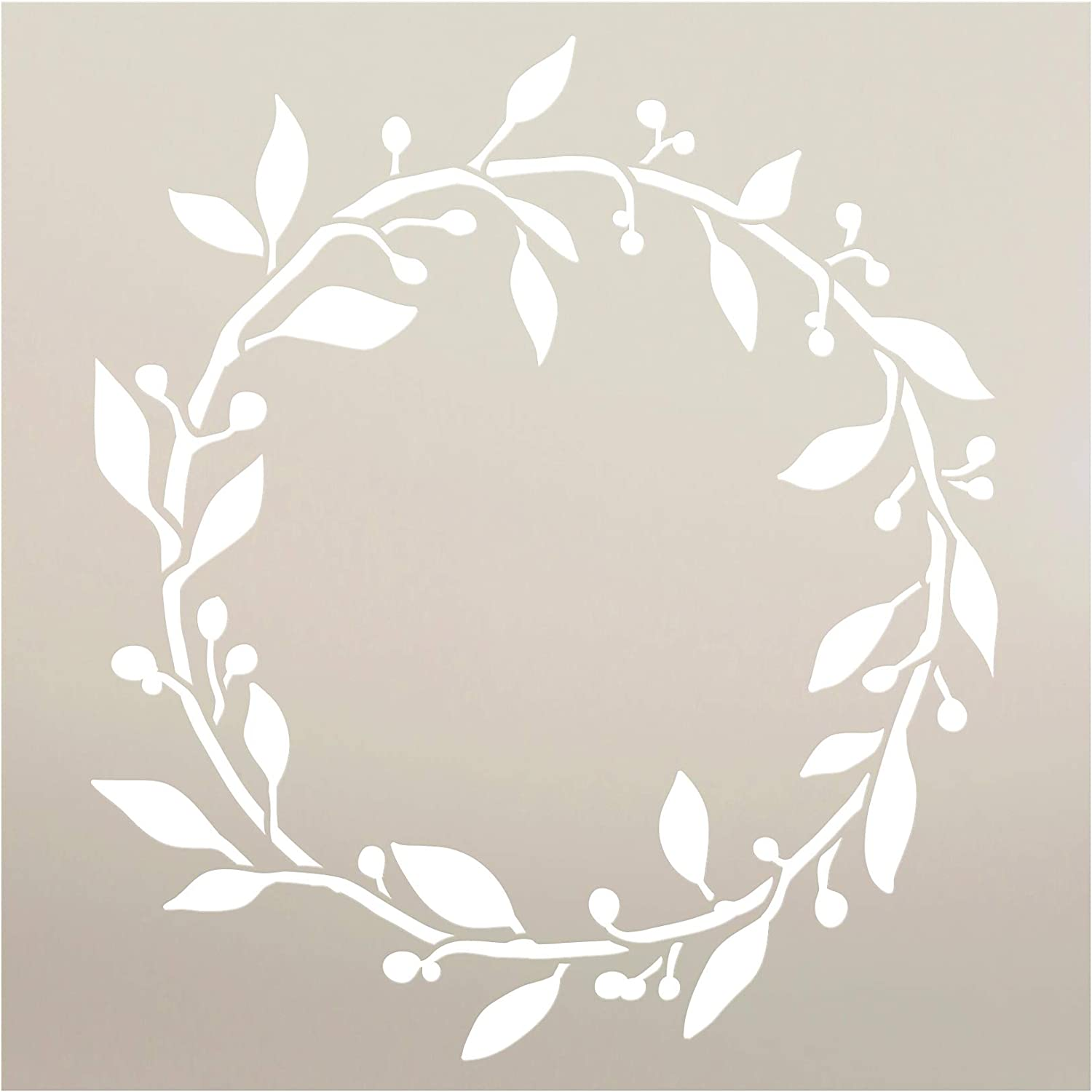 "Leaf & Berry Wreath Stencil by StudioR12 | DIY Plant Outdoor Home Decor | Simple Rustic Nature Garden Gift | Craft Farmhouse Laurel Vine Porch | Reusable Mylar Template | Paint Wood Sign (9"" x 9"")"
