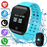 Fitness Tracker Smartwatch with Blood Pressure Heart Rate Monitor Tracker Sports Watch Bracelet for Women Men,IP67 Waterproof Watch Tracker Pedometer Calorie Swim Gift for Android (Blue)
