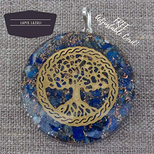 Orgonite Chakra Energy Web Tree of Life Orgone Pendant – Revitalization and Relaxation Chi-Lapis Lazuli, Carnelian Crystal Necklace- Brass and Copper Tesla Coil Embedded- Unisex (Lapis Lazuli) ()