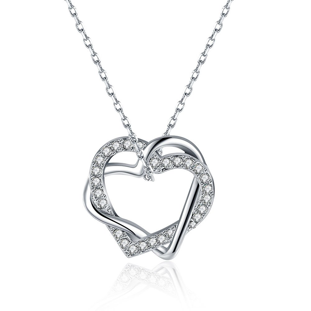 "Double Love Heart Pendant Necklace ""Love You Until Death"" Perfect Gift For Women Mon Wife Valentine Day Gift"