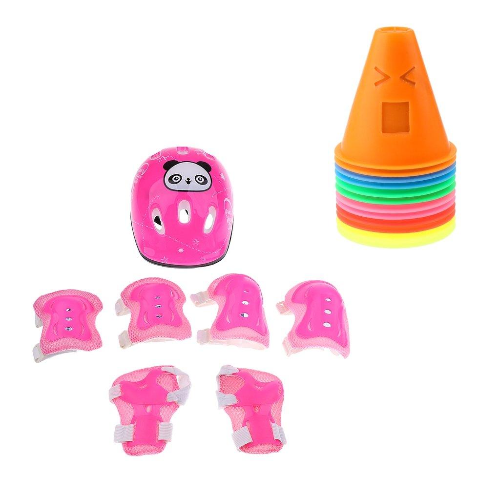 Baoblaze Kids Inline Roller Skating Scooter Bike Helmet Knee Elbow Wrist Pad Guard Protector + 12pcs Sport Cones Pink