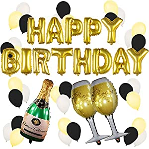 Gold birthday and champagne balloon set for 21st birthday decoration packages