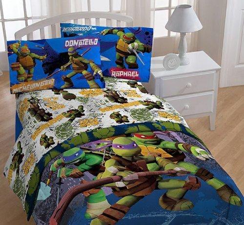 3pc Teenage Mutant Ninja Turtles Twin Bed Sheet Set TMNT Turtle Power Bedding ()