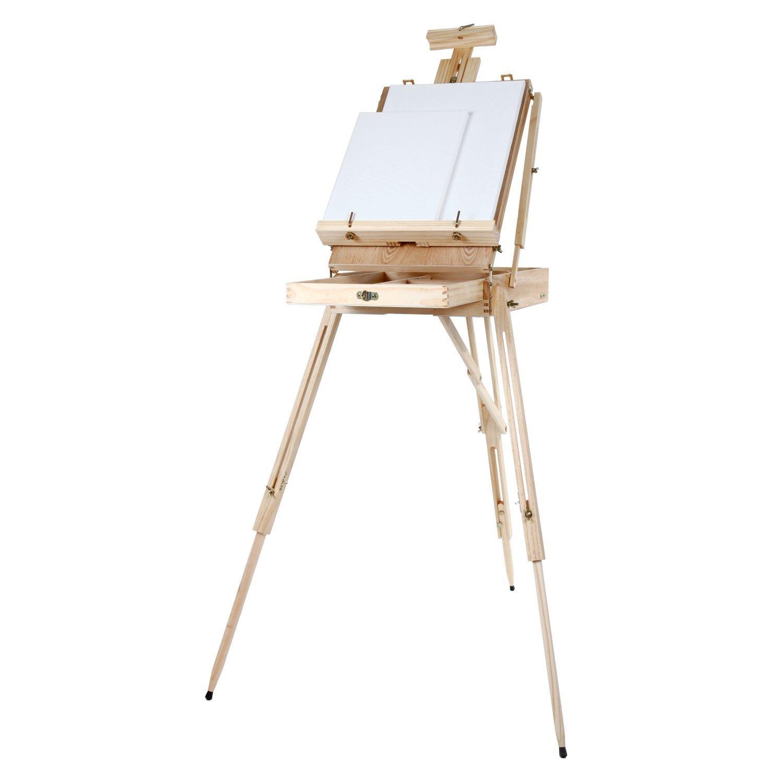 Artina Cavalletto tripode per pittura Madrid - da tavolo o da campagna - cassetta valigetta integrata - legno di pino