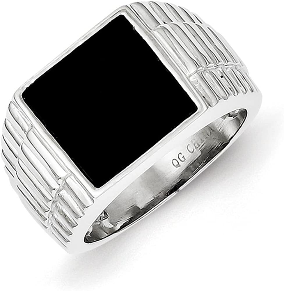 Mens 925 Sterling Silver Polished Grooved Black Onyx Ring