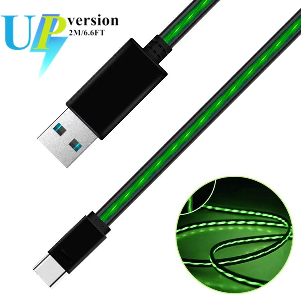 iCrius 6ft Visible Flowing LED Light Type C Cable Fast Charging USB 3.0 to C Charger Cord for Samsung Galaxy S10 S9 Note 9 8 S8 Plus, LG V30 V20 G6 G5, Google Pixel, Nintendo Switch, MacBook (Green)