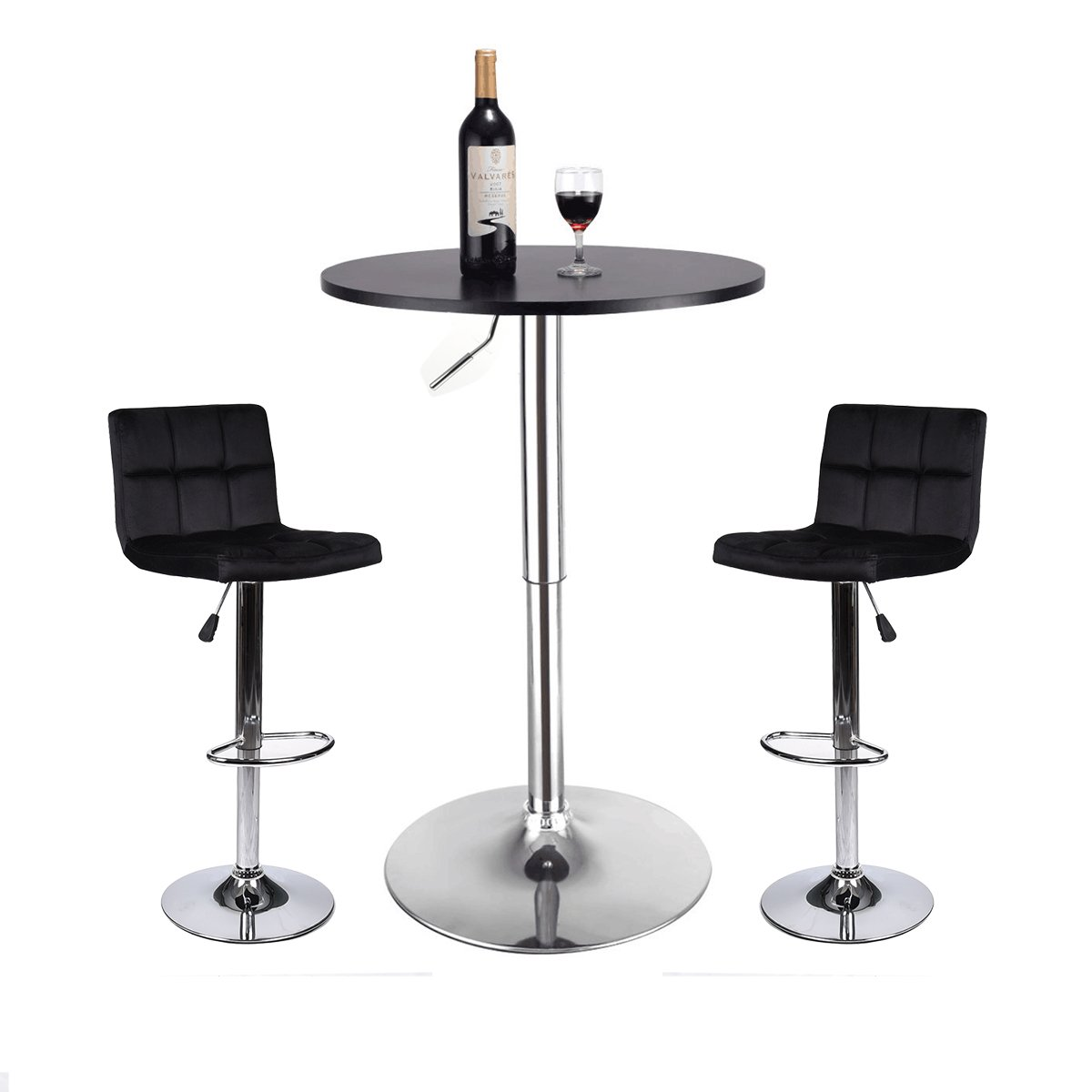 3 Piece Bar Table Stools Set - Height Adjustable Table with Swivel Bar Chairs Set - Bistro Pub Kitchen Dining Furniture Black (Set 7)