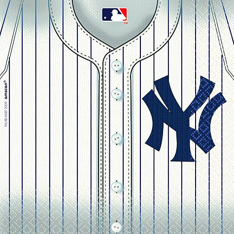 Baseball Luncheon Napkins (Amscan Sports & Tailgating MLB Party New York Yankees Luncheon Napkins (36 Piece), White, 6.5 x 6.5