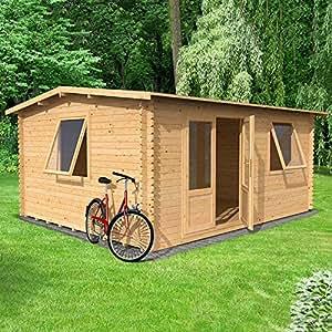 4x 3m oficina en casa Elite Log cabin-34mm revestimiento doble glazed-no installation-as estándar limón Pavilion