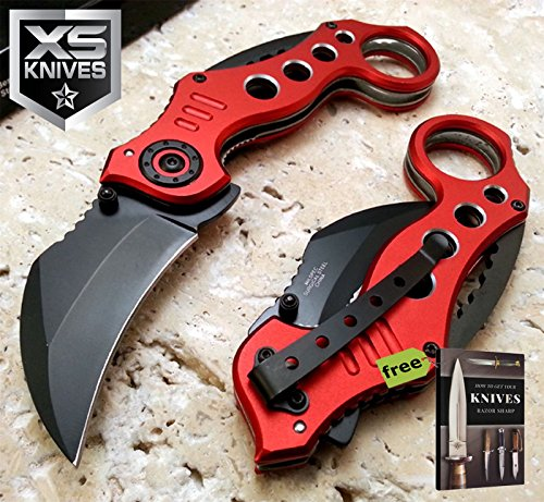 JTEC Spring Assist Anodized Red KARAMBIT Surgical Steel Pocket Carbon Steel Sharp Blade Knife NEW JT177 + Free eBook by SURVIVAL STEEL ()