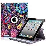 32nd® Designer book wallet 360 degree revolving case cover for Apple iPad 2 3 4 + screen protector and cloth – Jellyfish