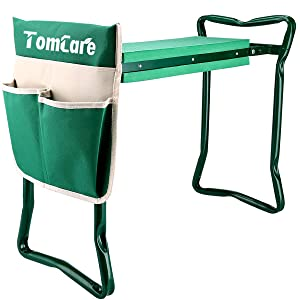 "TomCare Garden Kneeler Seat Garden Bench Garden Stools Foldable Stool with Tool Bag Pouch EVA Foam Pad Outdoor Portable Kneeler for Gardening(Large-21.65"" x 10.62"" x 18.89"",Green)"