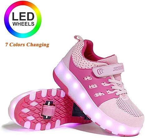 llh LED Luz Flash Zapatos 7 Colores Zapatillas con Ruedas Niñas,Aire Libre Y Deporte Gimnasia Running Zapatillas con Doble/Soltero Ruedas,con Carga USB,Zapatos con Ruedas,PinkDoubleWheel-32: Amazon.es: Hogar