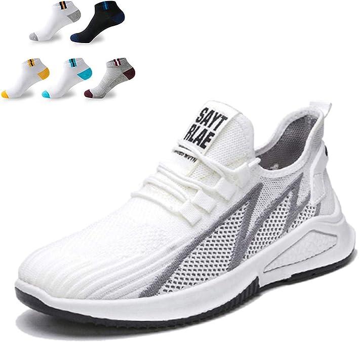 XFQ Caminar Los Hombres De Las Zapatillas De Deporte, Adolescentes Zapatos para Correr Casual Ligero De Amortiguación De Tenis Gimnasio Formadores con 5 Pares De Calcetines Deportivos: Amazon.es: Zapatos y complementos