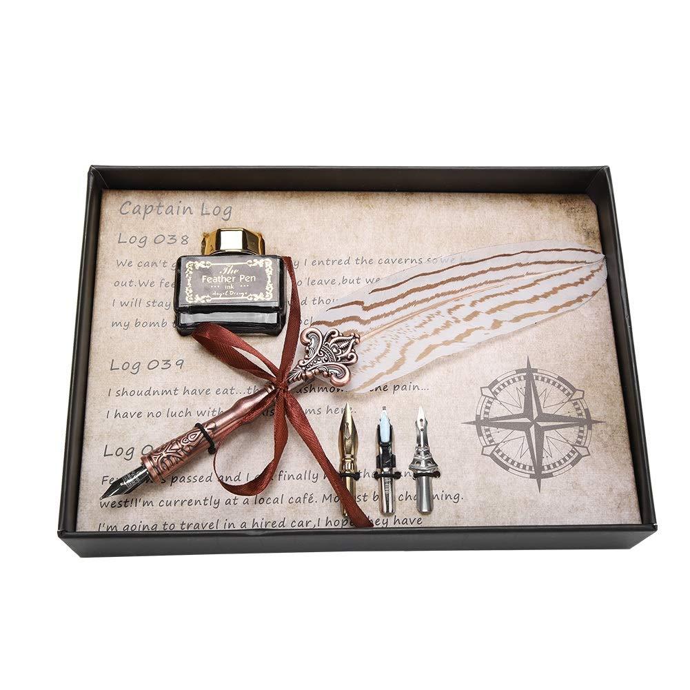 Delaman フェザーディップペン レトロ クラシック 万年筆 羽 ディップペン インクボトルセット 文房具ギフト B07PHYKFFW 白