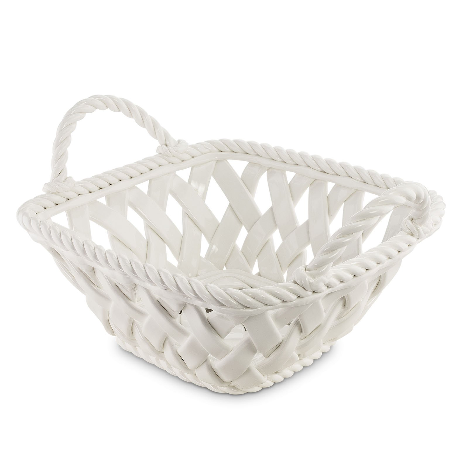 KOVOT Ceramic Woven Serving Basket - Great To Display Bread Or Fruit