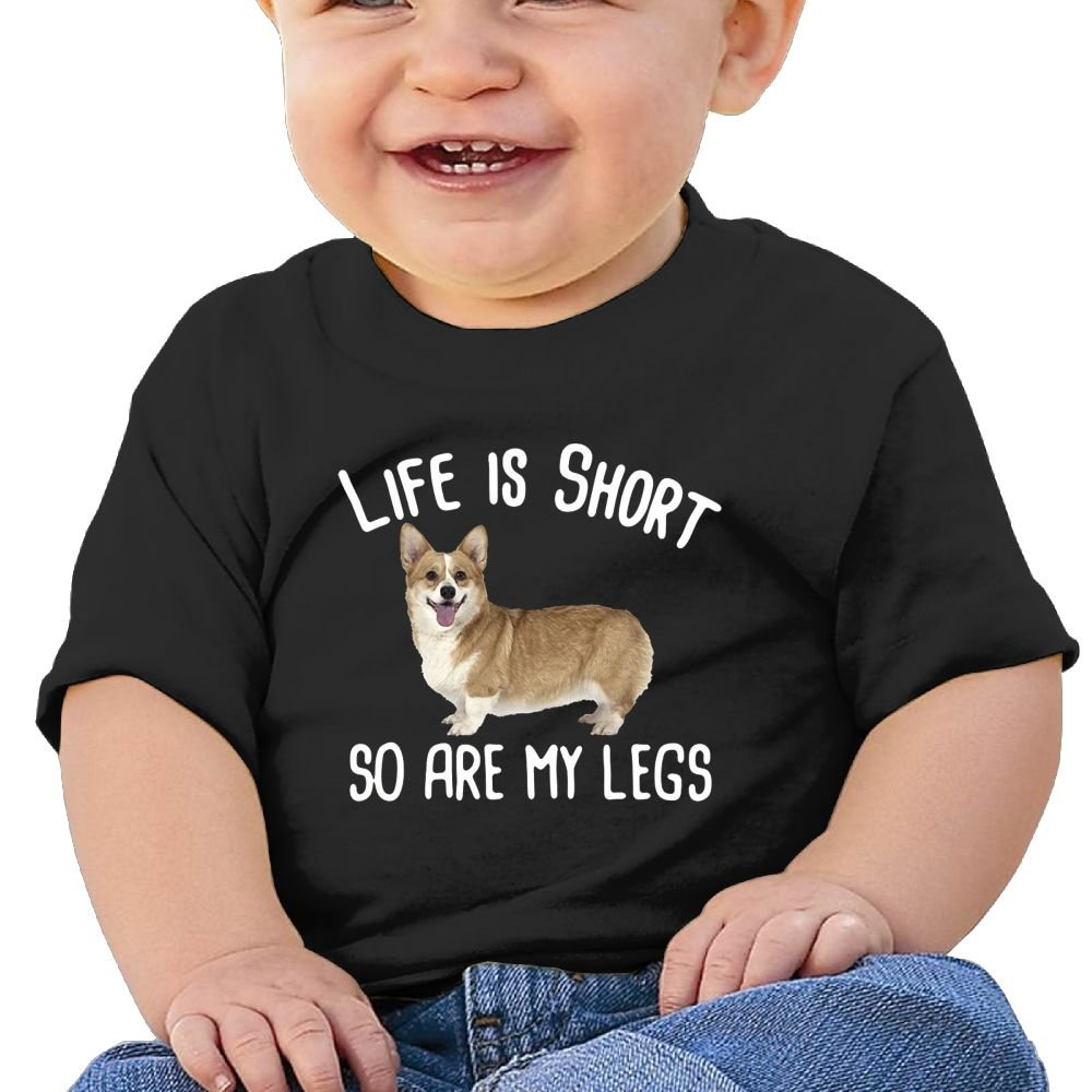 REBELN Life Is Short So Are Corgi Legs Cotton Short Sleeve T Shirts For Baby Toddler Infant