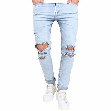 Pantalones Tejanos Rotos Azul Claro Hombre LHWY, Vaqueros ...