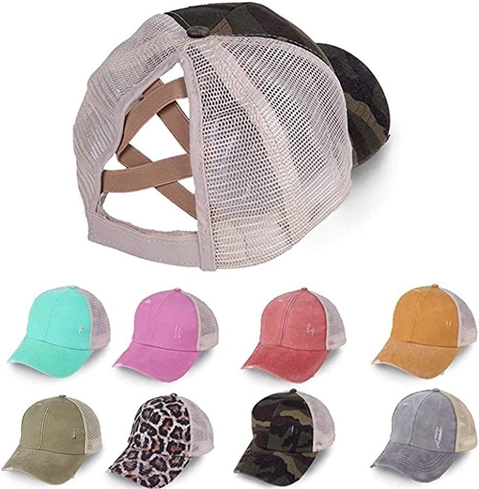 Unisex Baseball Cap Vintage Visor Cap Adjustable Mesh Patchwork Criss Cross Sun Hat Outdoor Breathable Shade Cap