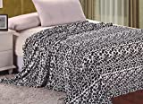 Sweet Home Collection Super Soft Polyester Micro Plush Black & White Print Blanket, Queen, Chinchilla