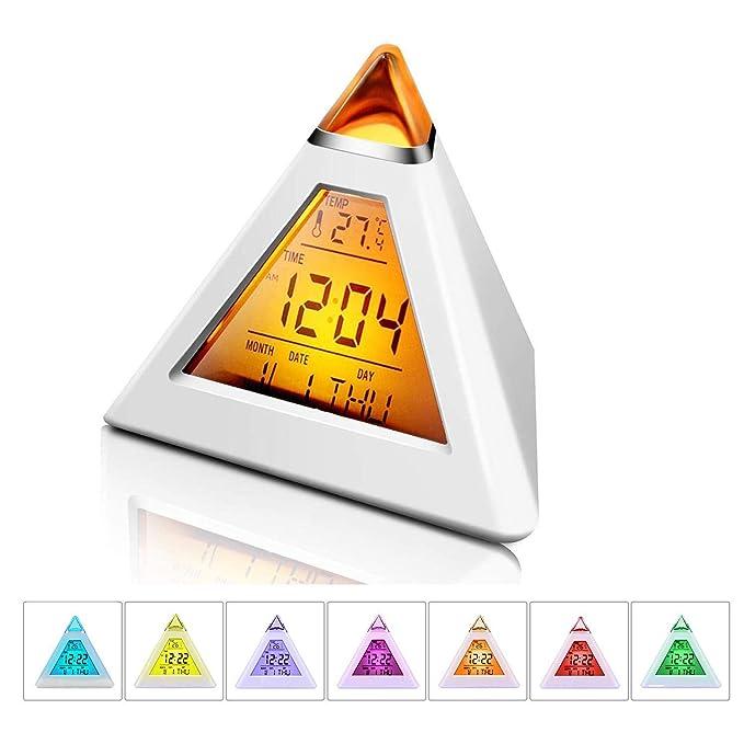 ... luz de fondo multifunción, LED, pirámide, termómetro, fecha, cuenta atrás, reloj de música digital, funciona con pilas, reloj: Amazon.es: Hogar