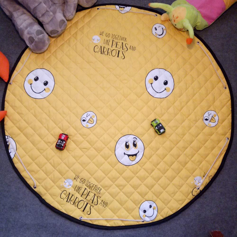 QXMEI Round Mat Baby Crawling Mat Home Bedroom Children Climbing Mat Baby Game Mat,Yellow by QXMEI (Image #1)