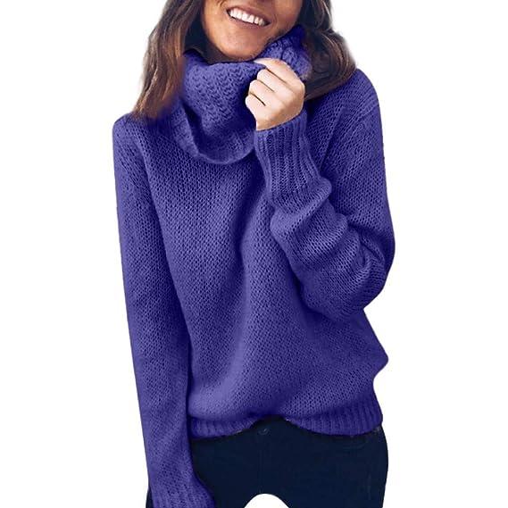 Jersey Mujer Invierno suéter de Mujer Invierno Blusa de Manga Larga suéter con Cuello Alto y