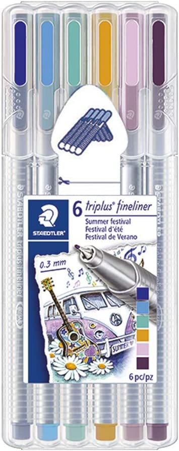STAEDTLER triplus fineliner, Super Fine Triangular Pens 0.3mm, Includes Easel Case for Home & Travel, 6 Festival Themed Colors, 334SB6S1A6 (334SB6S1A6ST)
